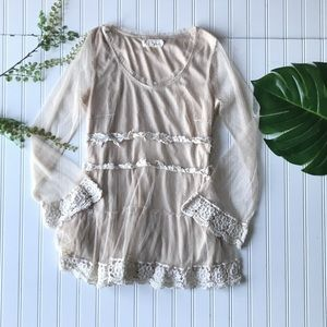 Anthropologie A'reve lace tunic cream polka dot